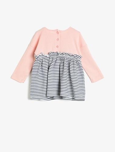 Koton Kids Düğme Detaylı Elbise Pembe
